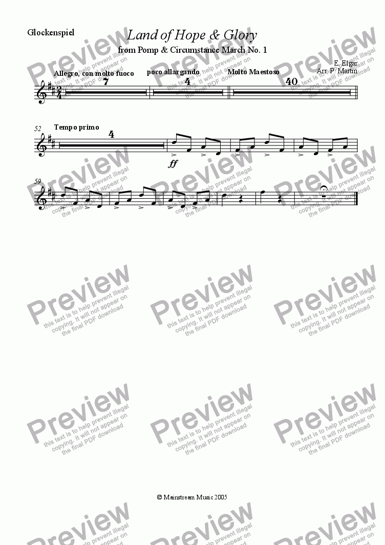 page one of the Glockenspiel part from Land of Hope and Glory