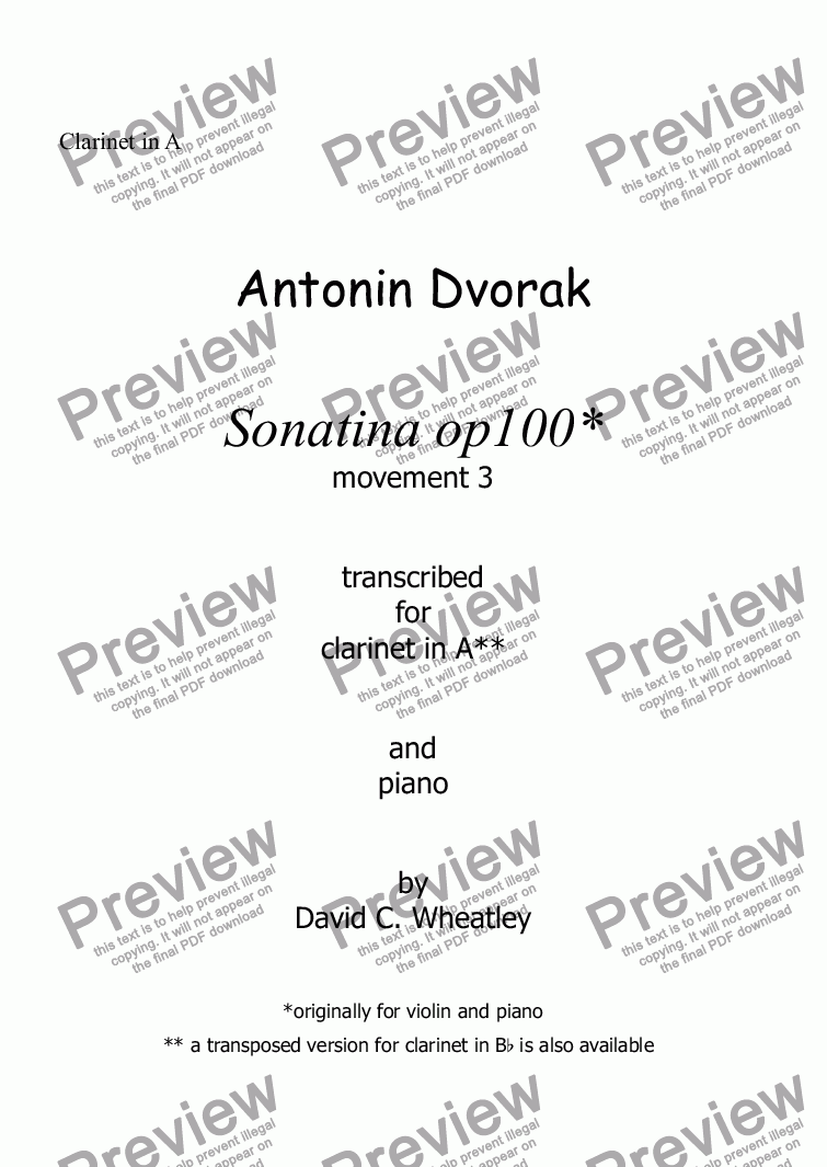 page one of the Clarinet in A part from Dvorak Sonatina op 100 mvt 3 - scherzo (original key) transcribed for clarinet in A and piano by David Wheatley