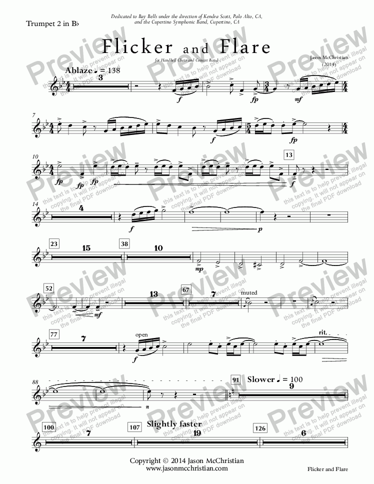 page one of the Flicker and Flare - 15. Trumpet 2 in Bb part from Flicker and Flare - for Handbell Choir and Concert Band - Full Score and Parts