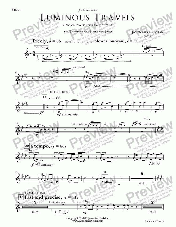 page one of the 4. Luminous Travels - Oboe part from Luminous Travels - The Journey of LightSail-A - for Trombone and Symphonic Band - Full Score and Parts