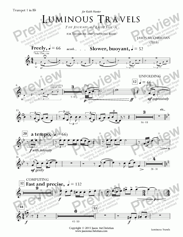 page one of the 14. Luminous Travels - Trumpet 1 in Bb part from Luminous Travels - The Journey of LightSail-A - for Trombone and Symphonic Band - Full Score and Parts