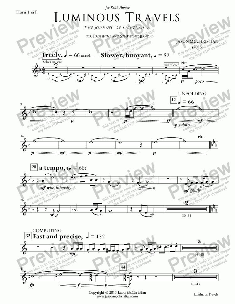 page one of the 17. Luminous Travels - Horn 1 part from Luminous Travels - The Journey of LightSail-A - for Trombone and Symphonic Band - Full Score and Parts