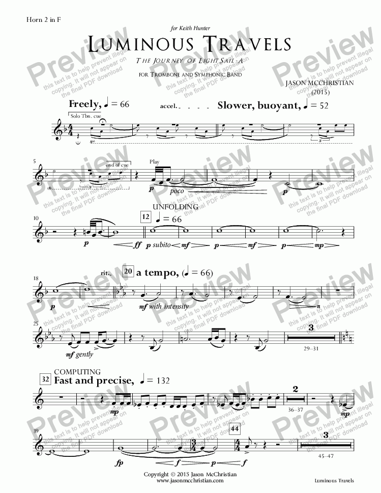 page one of the 18. Luminous Travels - Horn 2 part from Luminous Travels - The Journey of LightSail-A - for Trombone and Symphonic Band - Full Score and Parts