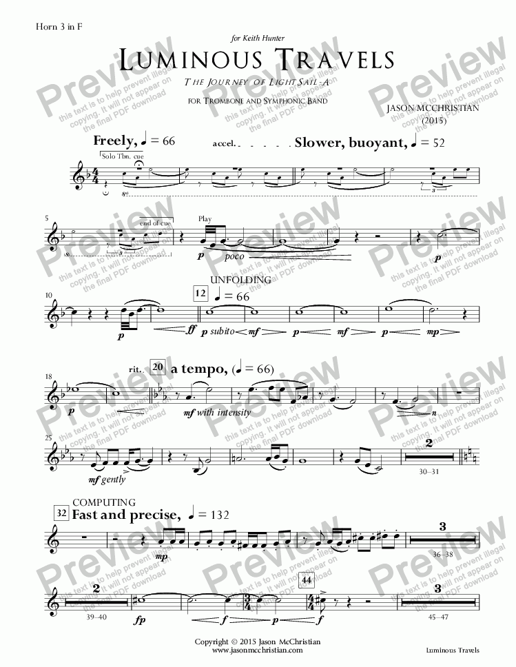page one of the 19. Luminous Travels - Horn 3 part from Luminous Travels - The Journey of LightSail-A - for Trombone and Symphonic Band - Full Score and Parts