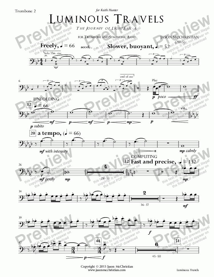 page one of the 22. Luminous Travels - Trombone 2 part from Luminous Travels - The Journey of LightSail-A - for Trombone and Symphonic Band - Full Score and Parts