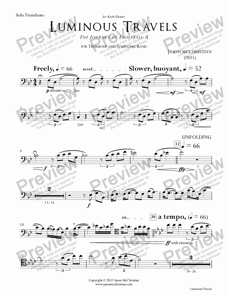 page one of the 31a. Luminous Travels - Solo Trombone (Cadenza Option 2) part from Luminous Travels - The Journey of LightSail-A - for Trombone and Symphonic Band - Full Score and Parts