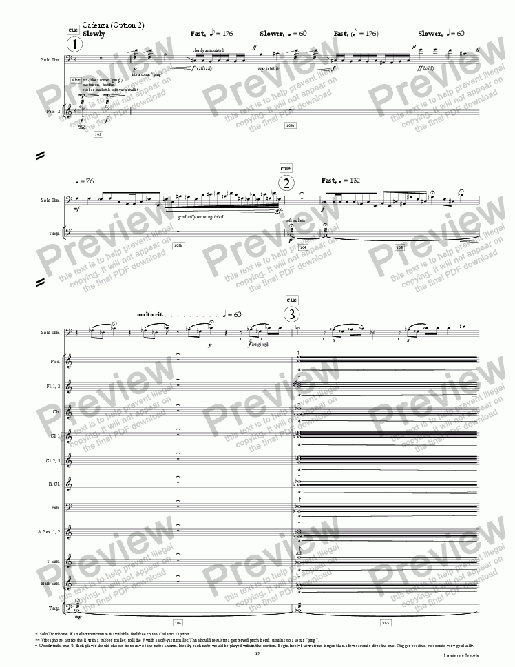 page one of the Luminous Travels - The Journey of LightSail-A (Cadenza Option 2, extra pages) part from Luminous Travels - The Journey of LightSail-A - for Trombone and Symphonic Band - Full Score and Parts
