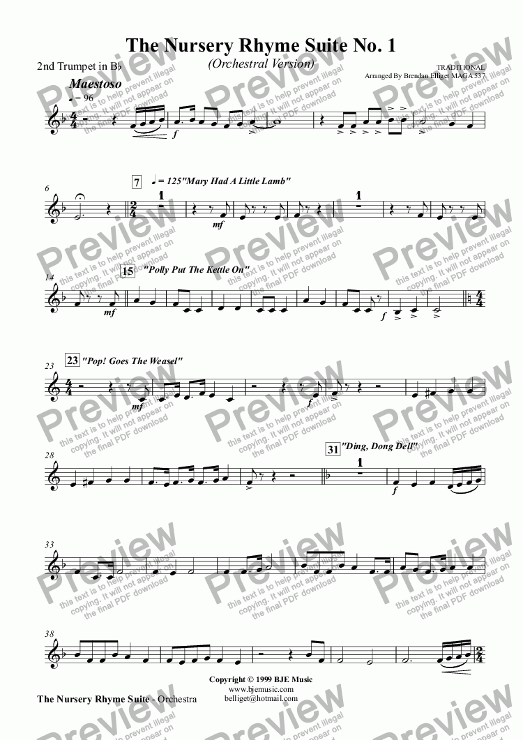 page one of the 2nd Trumpet in B^b part from The Nursery Rhyme Suite No. 1 - Orchestra
