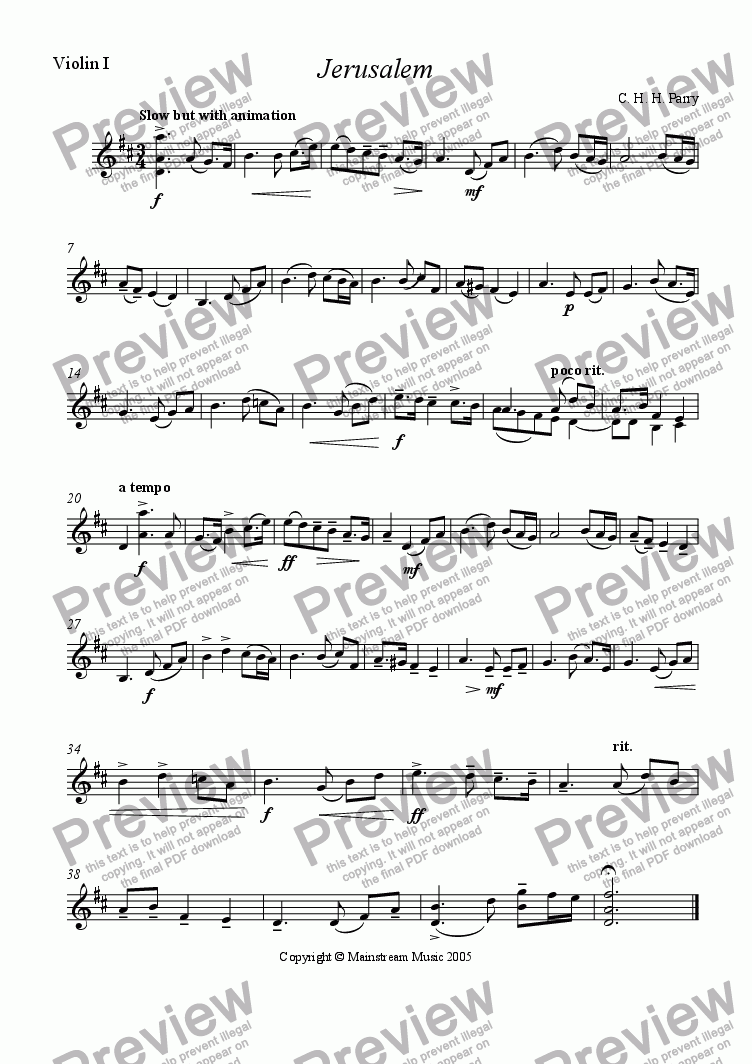 page one of the Violin 1 part from Jerusalem