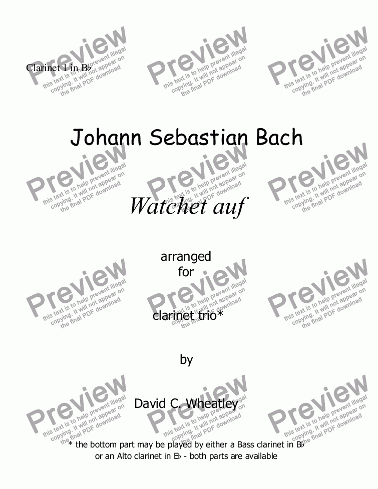 page one of the Clarinet 1 in Bb part from Bach Watchet auf for clarinet trio (2xBb + Bass)