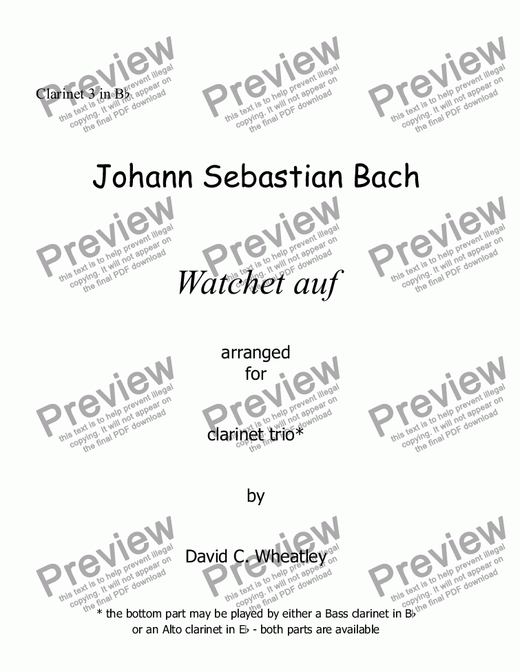 page one of the Clarinet 3 in Bb part from Bach Watchet auf for clarinet trio (2xBb + Bass)