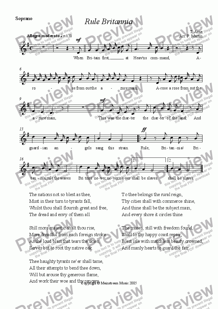 page one of the Voice part from Rule Britannia