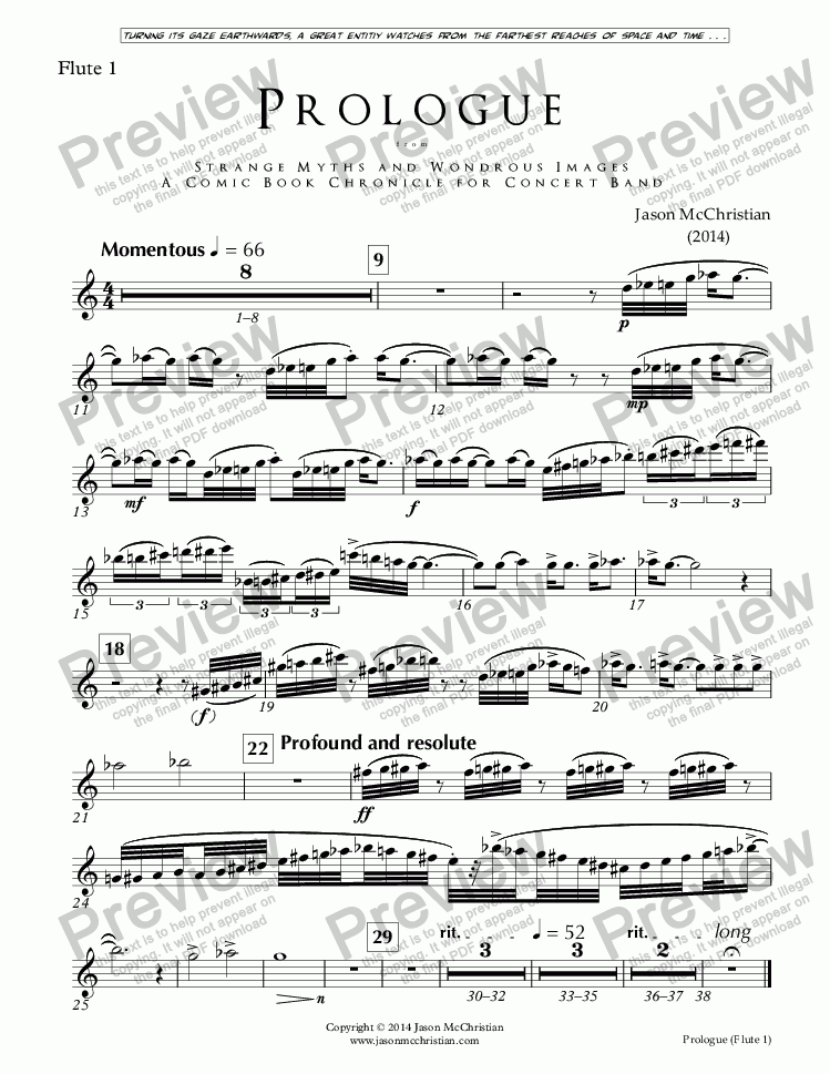 page one of the Issue, Prologue - 2. Flute 1 part from PROLOGUE from STRANGE MYTHS AND WONDROUS IMAGES - A COMIC BOOK CHRONICLE FOR CONCERT BAND - Full Score and Parts