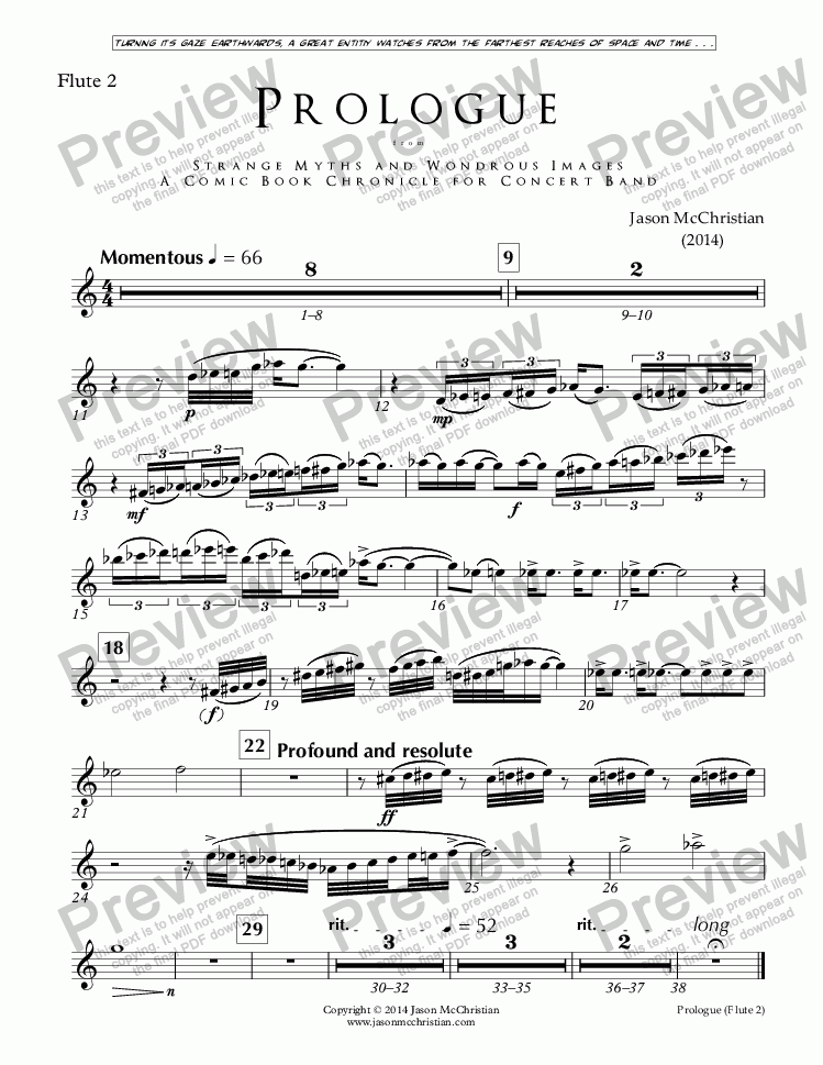 page one of the Issue, Prologue - 3. Flute 2 part from PROLOGUE from STRANGE MYTHS AND WONDROUS IMAGES - A COMIC BOOK CHRONICLE FOR CONCERT BAND - Full Score and Parts