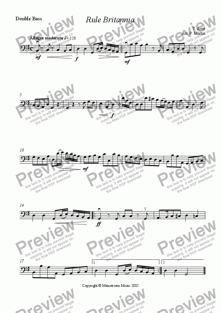 page one of the Bass part from Rule Britannia