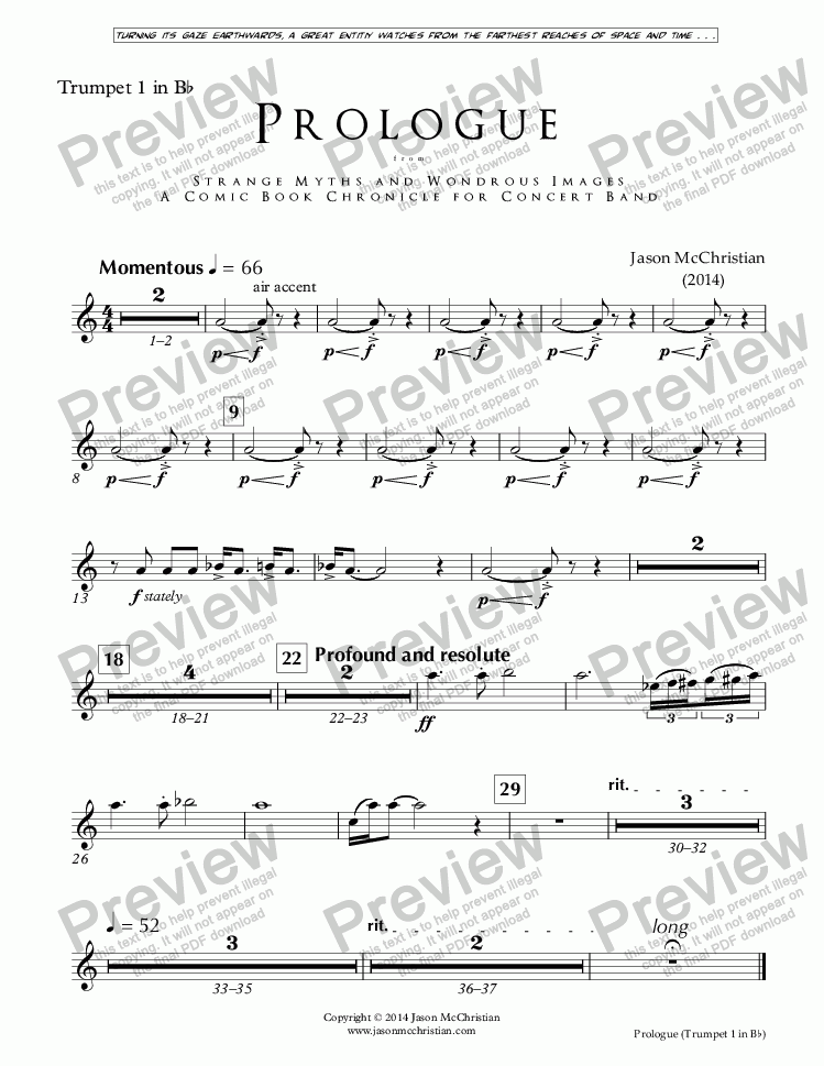 page one of the Issue, Prologue - 14. Trumpet 1 - Bb part from PROLOGUE from STRANGE MYTHS AND WONDROUS IMAGES - A COMIC BOOK CHRONICLE FOR CONCERT BAND - Full Score and Parts