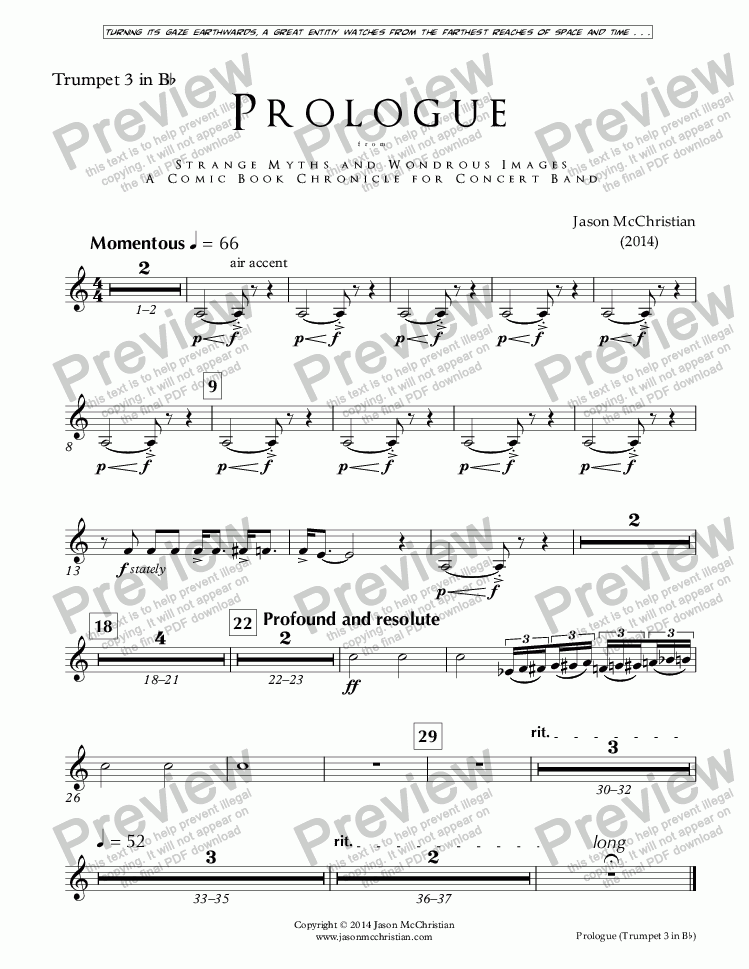 page one of the Issue, Prologue - 16. Trumpet 3 - Bb part from PROLOGUE from STRANGE MYTHS AND WONDROUS IMAGES - A COMIC BOOK CHRONICLE FOR CONCERT BAND - Full Score and Parts