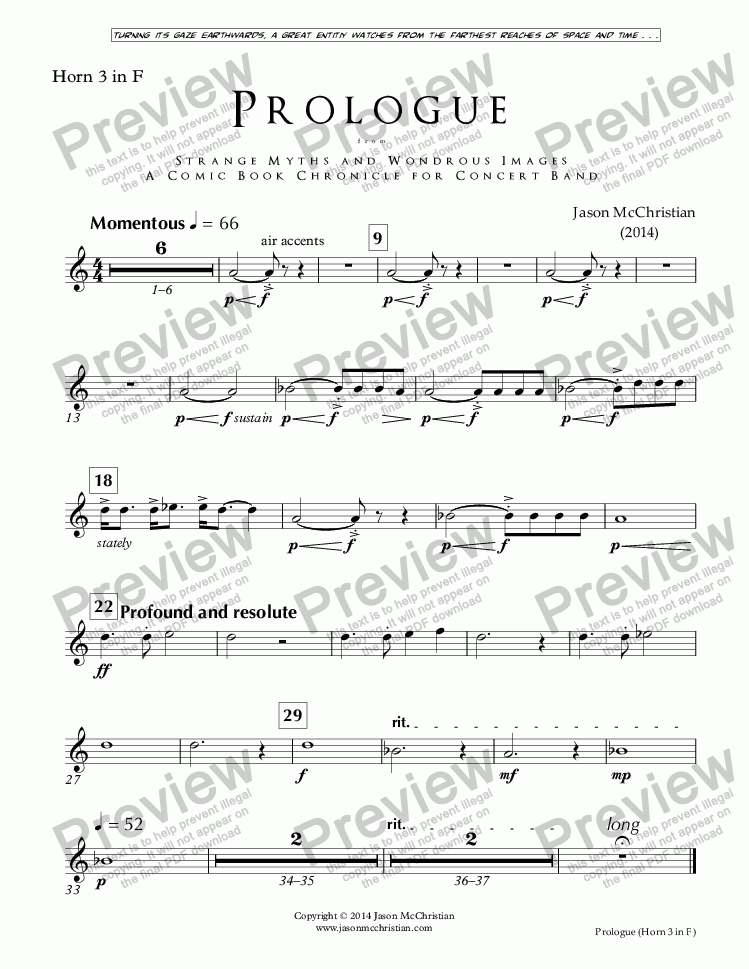 page one of the Issue, Prologue - 19. Horn 3 in F part from PROLOGUE from STRANGE MYTHS AND WONDROUS IMAGES - A COMIC BOOK CHRONICLE FOR CONCERT BAND - Full Score and Parts