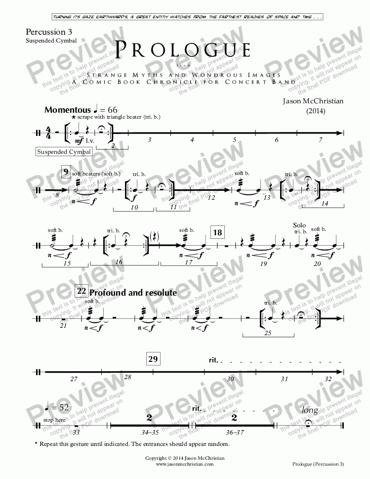 page one of the Issue, Prologue - 32. Percussion 3 part from PROLOGUE from STRANGE MYTHS AND WONDROUS IMAGES - A COMIC BOOK CHRONICLE FOR CONCERT BAND - Full Score and Parts