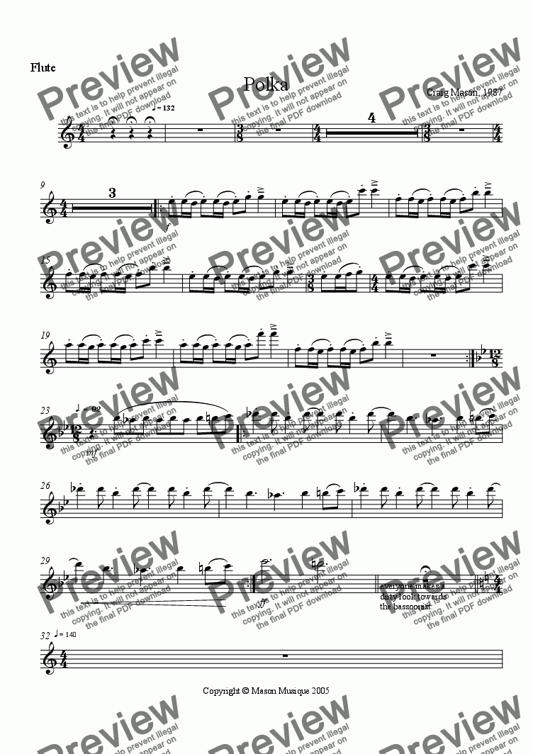 page one of the flute part from Mvmt. 3. Polka