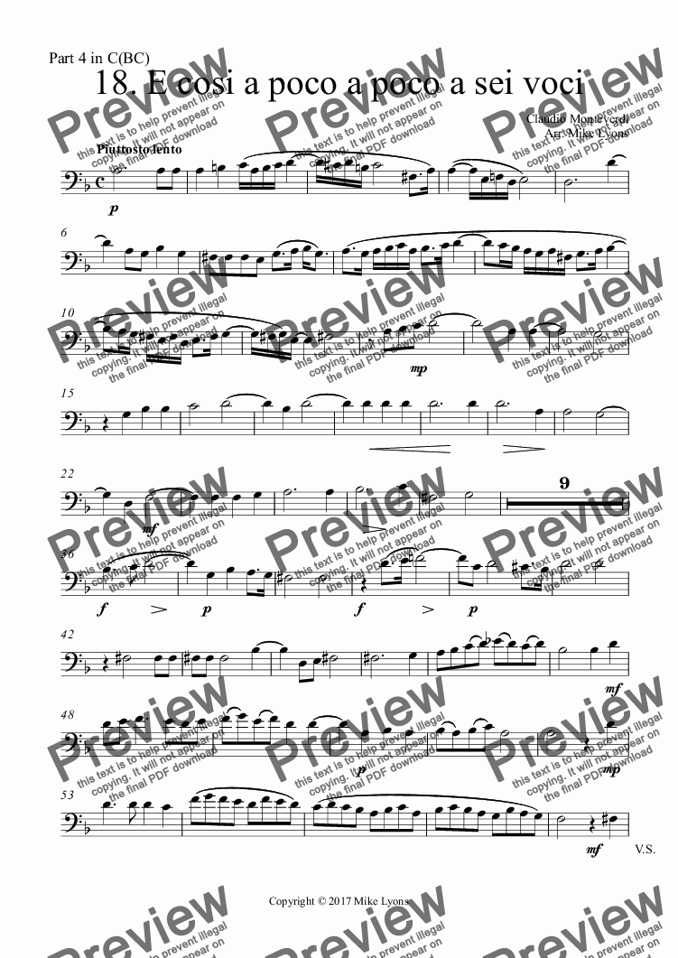 page one of the Part 4 in C(BC) part from Brass Quintet - Monteverdi Madrigals Book 5 - 18. E cosi a poco a poco a sei voci