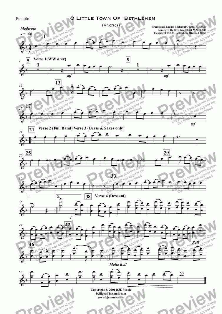 page one of the Piccolo part from O Little Town Of  Bethlehem - Forrest Green (Christmas) - Concert Band