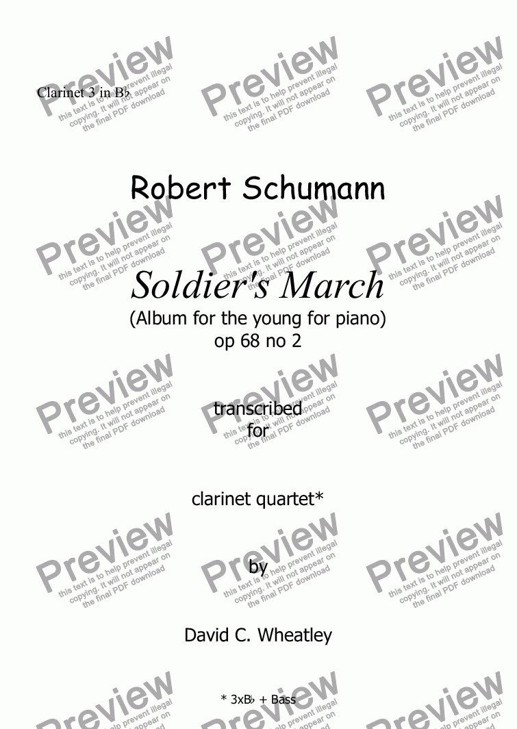 page one of the Clarinet 3 in Bb part from Schumann Album for the young op 68 no 2 'Soldier's march' for clarinet quartet