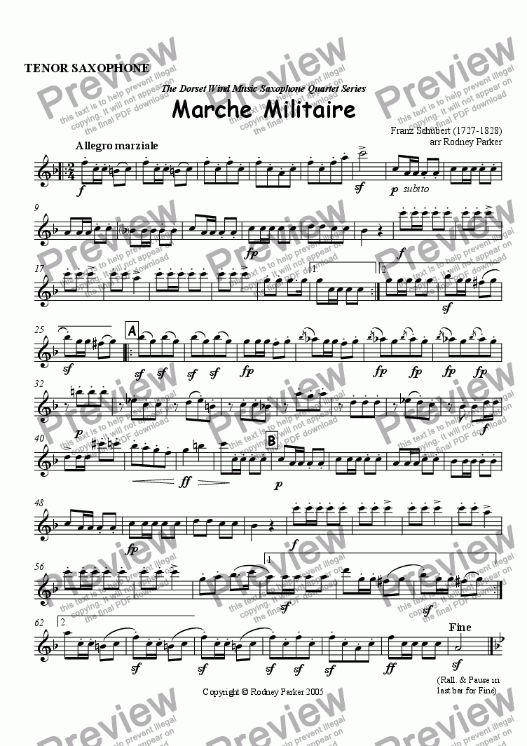 page one of the Tenor Saxophone part from Marche Militaire arr for Saxophone Quartet