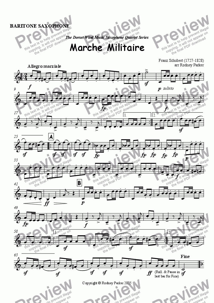 page one of the Baritone Saxophone part from Marche Militaire arr for Saxophone Quartet