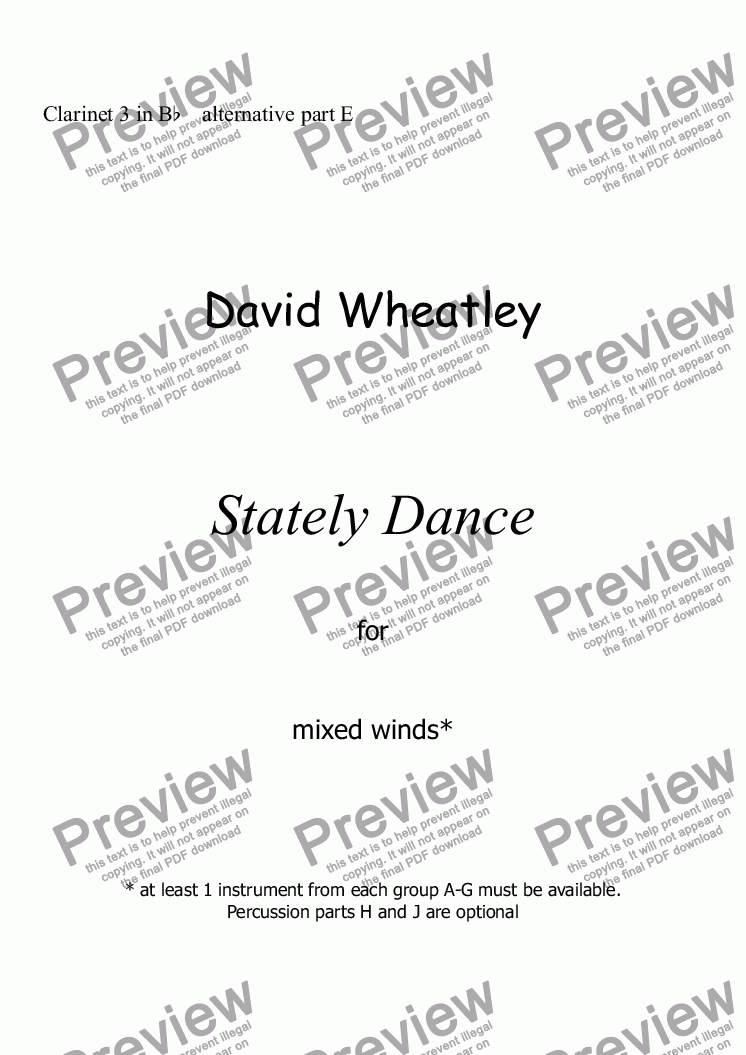 page one of the Clarinet 3 in Bb    alternative part E part from Stately Dance for mixed winds by David Wheatley