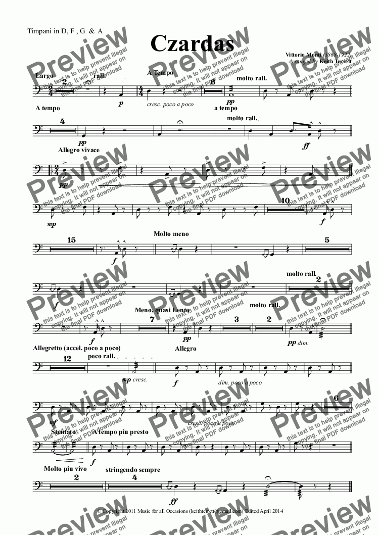 page one of the Timpani in D, F , G  &  A part from Czardas for Violin & Concert Band