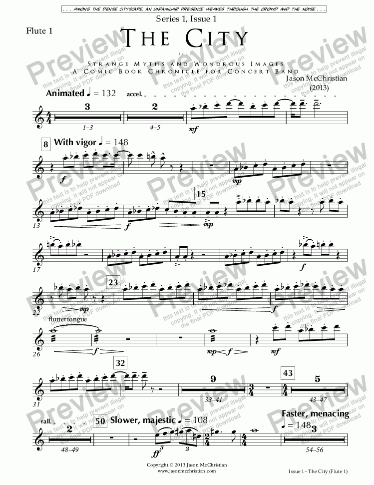 page one of the Issue 1, The City - 2. Flute 1 part from SERIES 1, ISSUE 1, THE CITY from STRANGE MYTHS AND WONDROUS IMAGES - A COMIC BOOK CHRONICLE FOR CONCERT BAND - Full Score and Parts