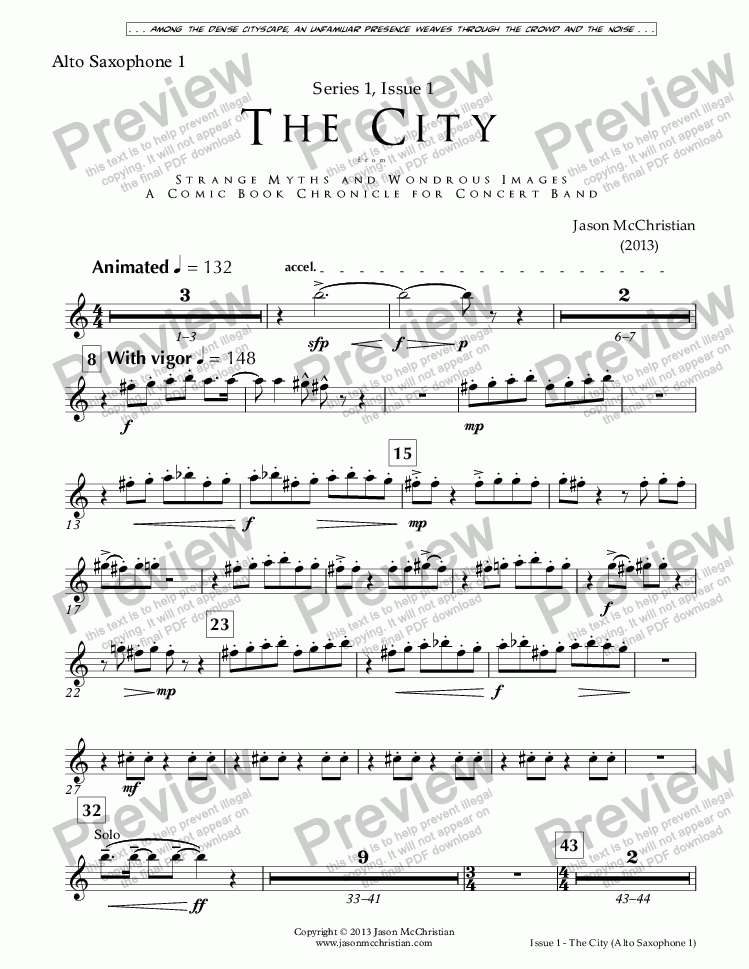 page one of the Issue 1, The City - 8. Alto Saxophone 1 part from SERIES 1, ISSUE 1, THE CITY from STRANGE MYTHS AND WONDROUS IMAGES - A COMIC BOOK CHRONICLE FOR CONCERT BAND - Full Score and Parts