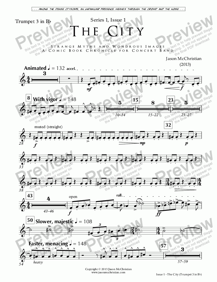 page one of the Issue 1, The City - 16. Trumpet 3 in Bb part from SERIES 1, ISSUE 1, THE CITY from STRANGE MYTHS AND WONDROUS IMAGES - A COMIC BOOK CHRONICLE FOR CONCERT BAND - Full Score and Parts