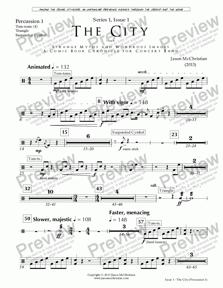 page one of the Issue 1, The City - 30. Percussion 1 part from SERIES 1, ISSUE 1, THE CITY from STRANGE MYTHS AND WONDROUS IMAGES - A COMIC BOOK CHRONICLE FOR CONCERT BAND - Full Score and Parts