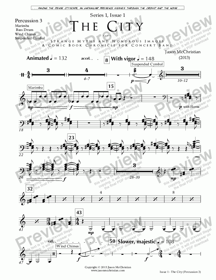 page one of the Issue 1, The City - 32. Percussion 3 part from SERIES 1, ISSUE 1, THE CITY from STRANGE MYTHS AND WONDROUS IMAGES - A COMIC BOOK CHRONICLE FOR CONCERT BAND - Full Score and Parts