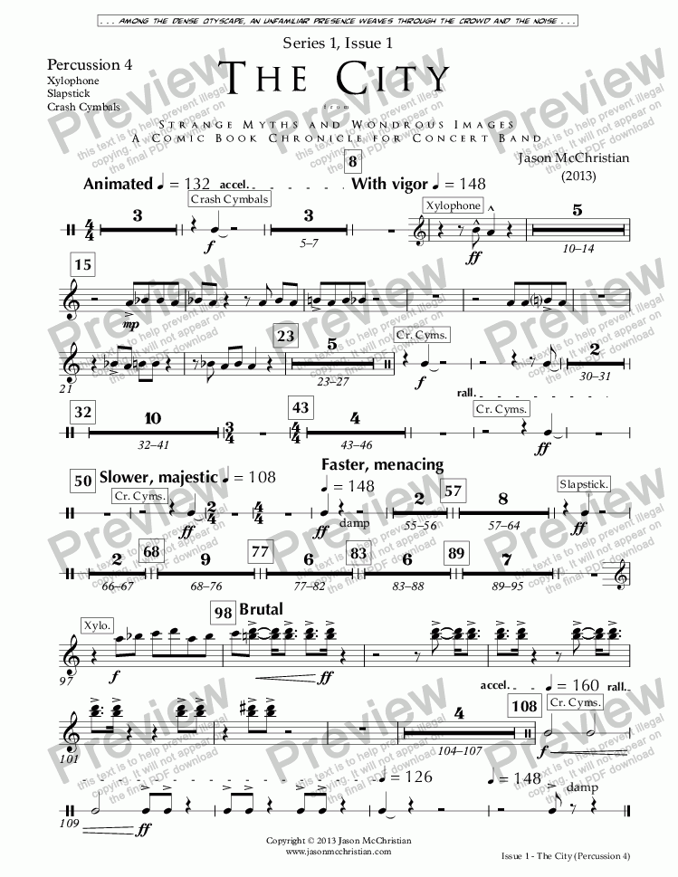 page one of the Issue 1, The City - 33. Percussion 4 part from SERIES 1, ISSUE 1, THE CITY from STRANGE MYTHS AND WONDROUS IMAGES - A COMIC BOOK CHRONICLE FOR CONCERT BAND - Full Score and Parts