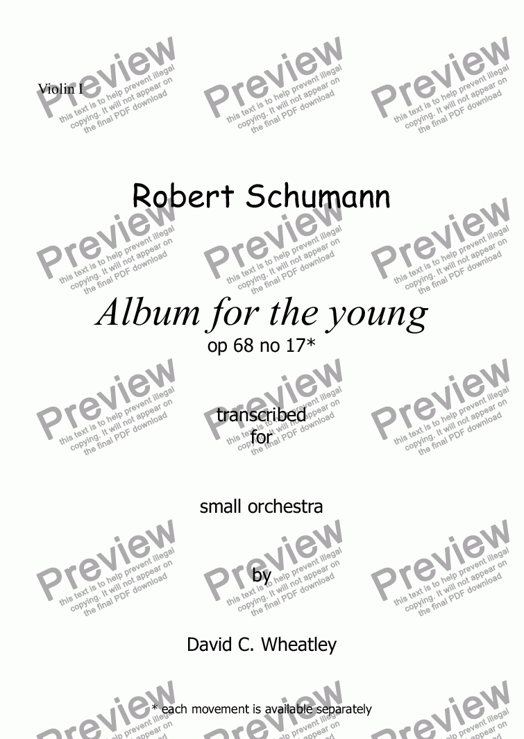 page one of the Violin I part from Schumann Album for the young op 68 no 17 'Little morning stroller' for small orchestra