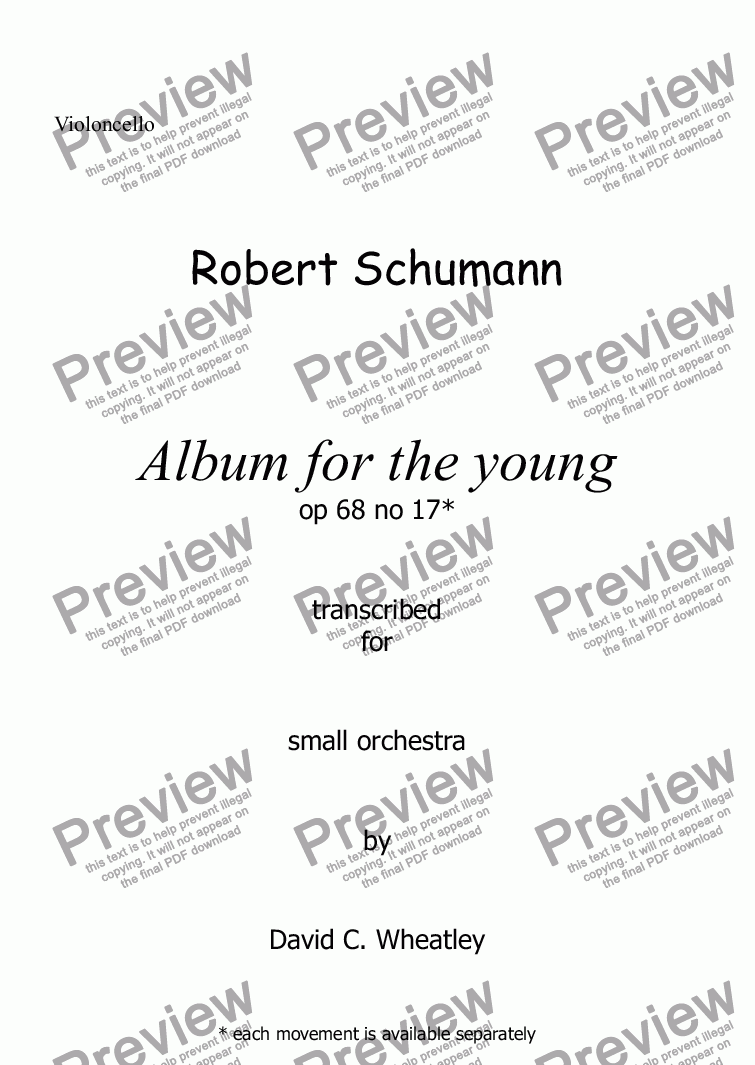 page one of the Violoncello part from Schumann Album for the young op 68 no 17 'Little morning stroller' for small orchestra