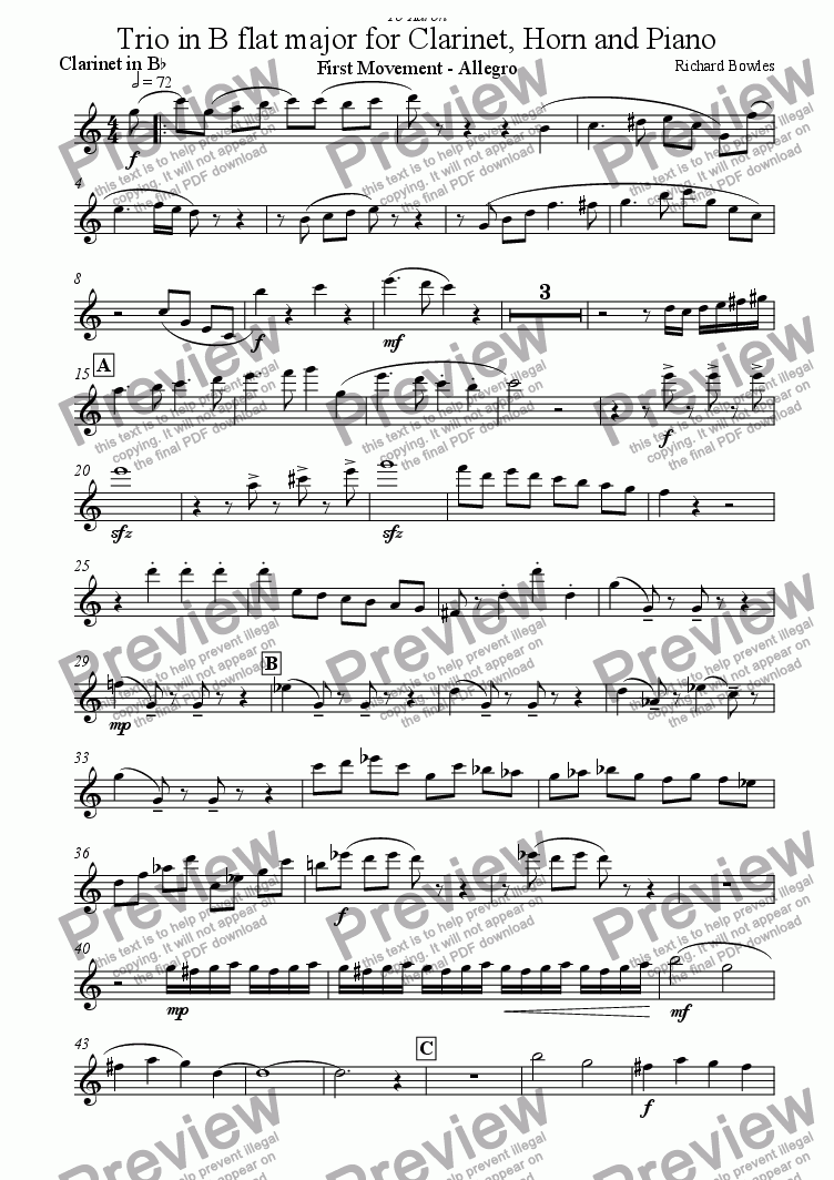 page one of the Clarinet part from Trio for Clarinet, Horn and Piano - Movement 1