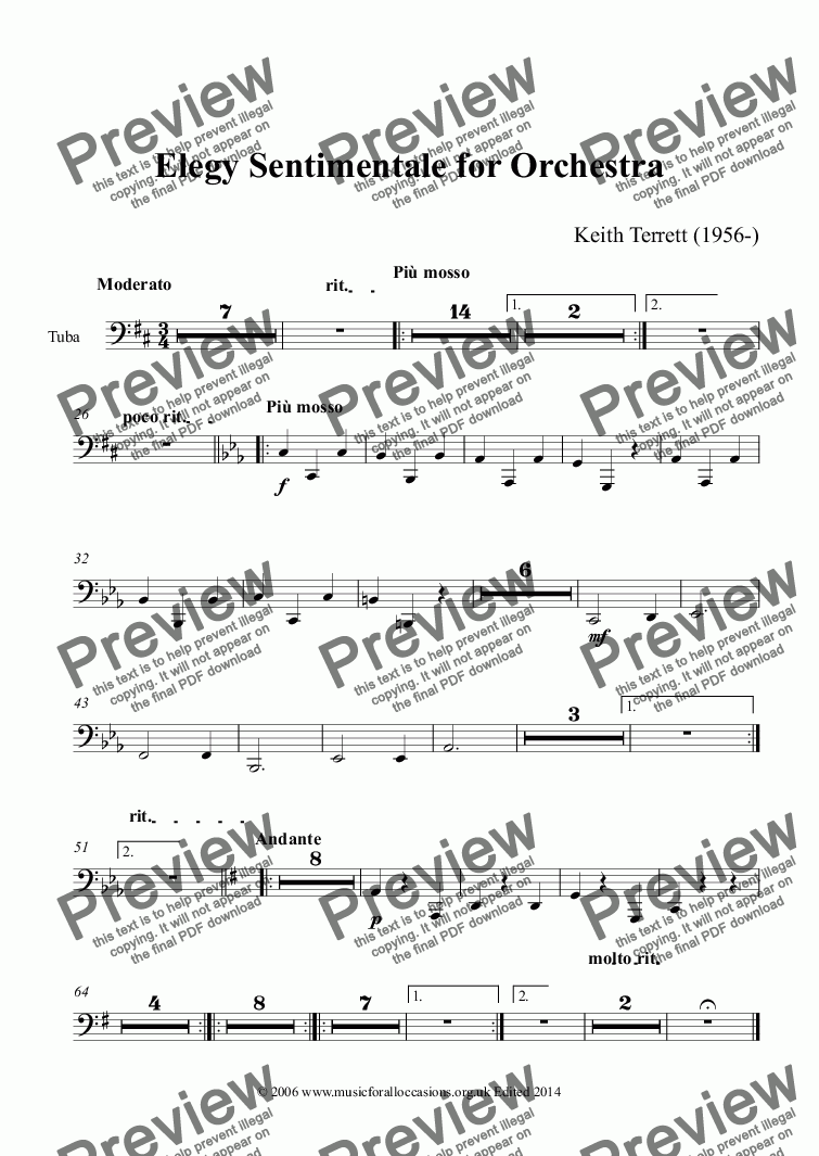 page one of the Tuba part from Elegy Sentimentale for Symphony Orchestra Opus 1
