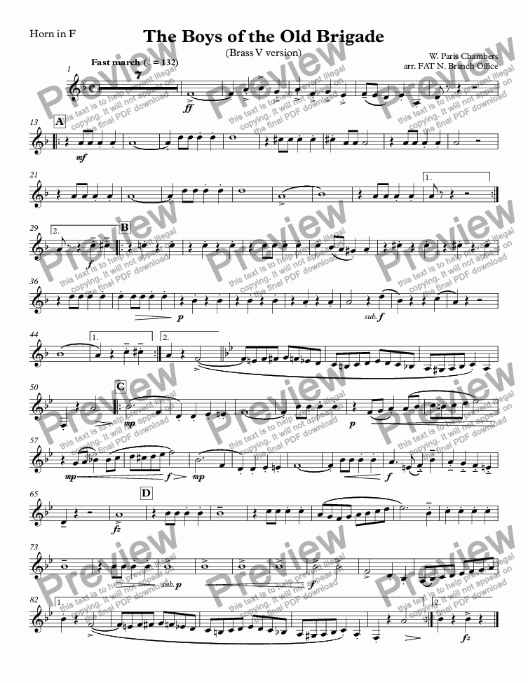 page one of the Horn in F part from Boys of the Old Brigade, The