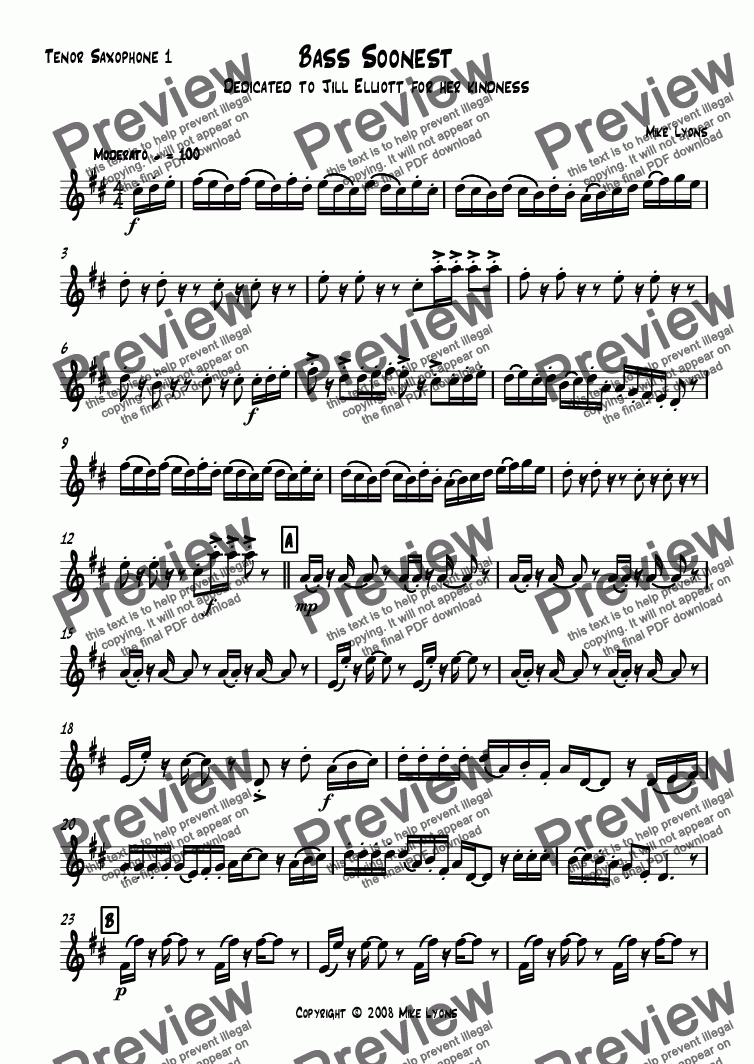 page one of the Tenor Saxophone 1 part from Saxophone Quartet - Bass Soonest