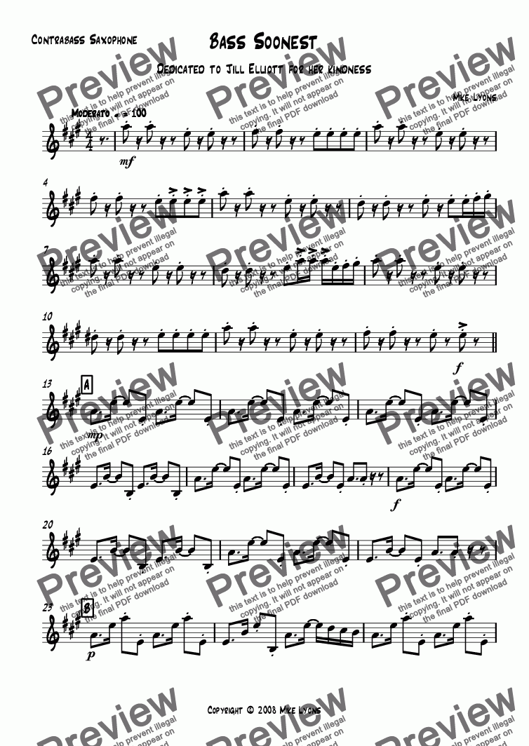 page one of the Contrabass Saxophone part from Saxophone Quartet - Bass Soonest