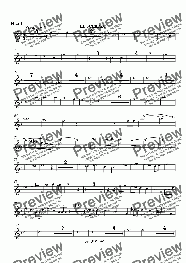 page one of the Flute I part from Symphony No. 1, Movement 3 (Orchestrated Version)