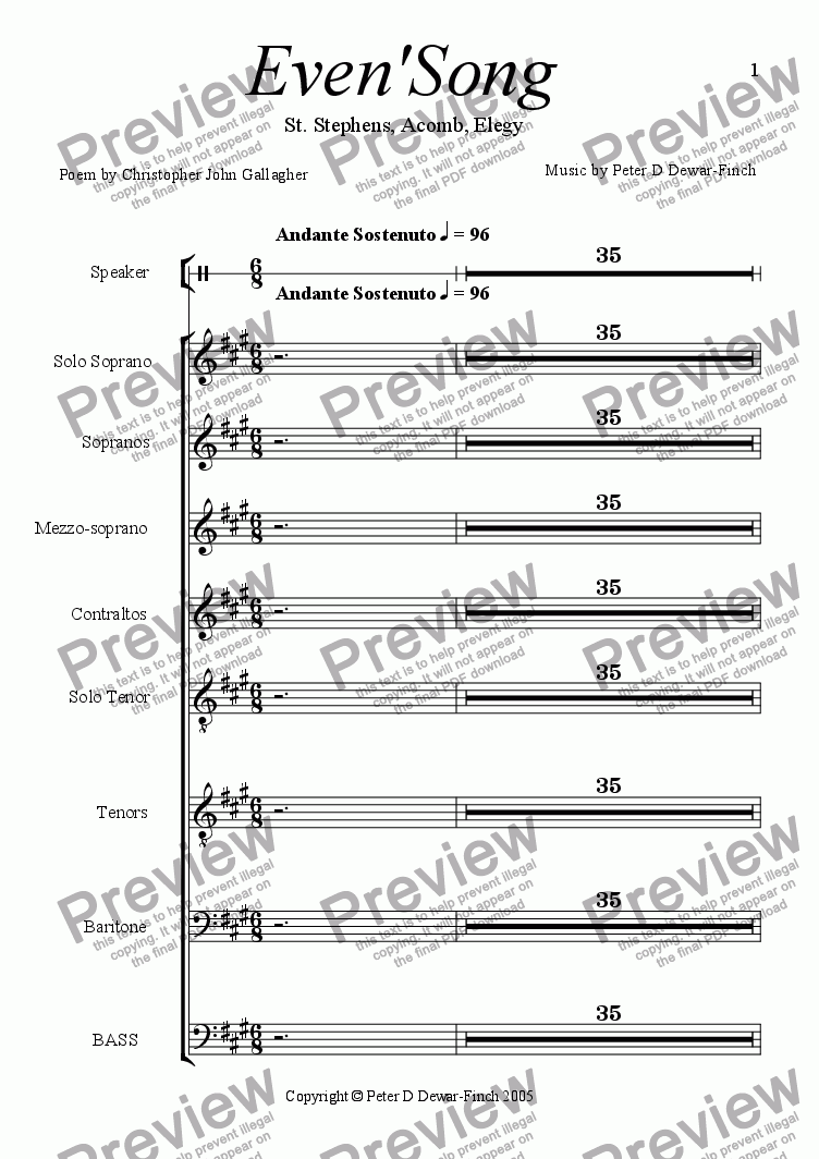 page one of the Full Vocal Score part from Evensong. St Stephen's Elegy