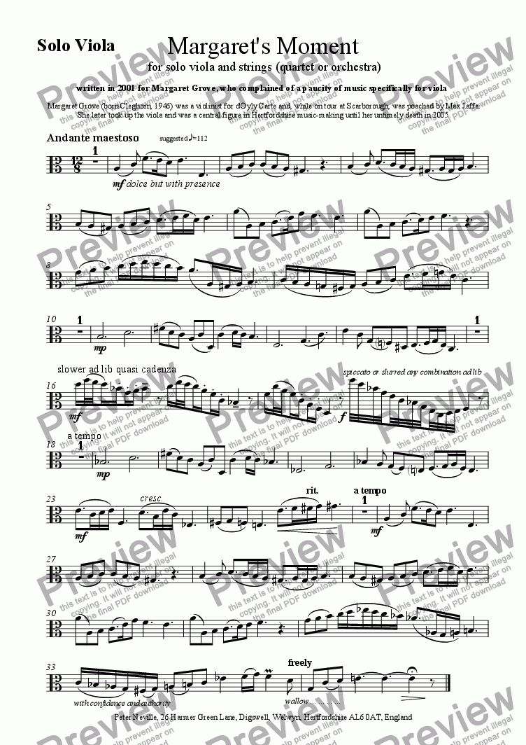 page one of the Solo viola part from 'Margaret's Moment' Viola concertino movement
