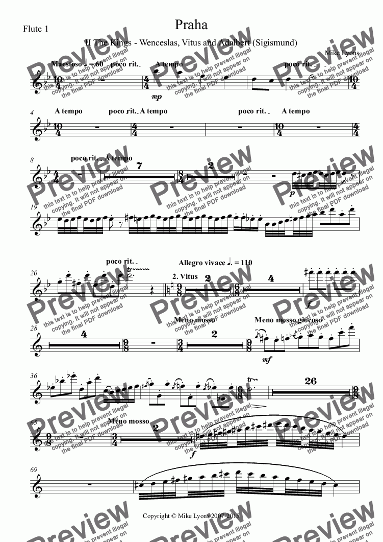 page one of the Flute 1 part from Orchestral - Tone Poem - Praha 2nd. Movement