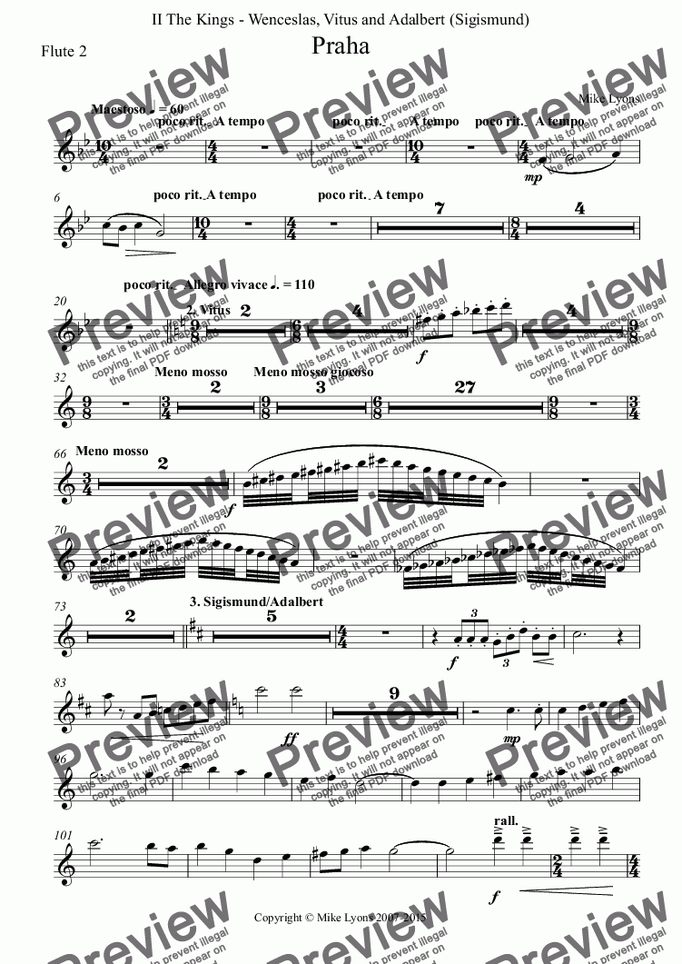 page one of the Flute 2 part from Orchestral - Tone Poem - Praha 2nd. Movement
