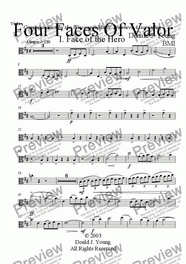 page one of the Viola part from Four Faces of Valor